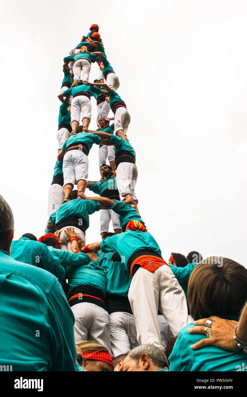 Castellers de Vilafranca, Traditional Human Tower, La Merce, Barcelona, Catalonia, Spain, 2014 - Stock Image