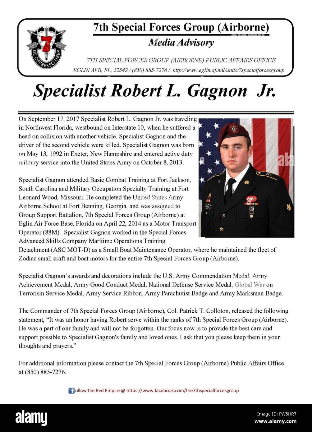 Media Advisory: Specialist Robert L. Gagnon Jr. Stock Photo