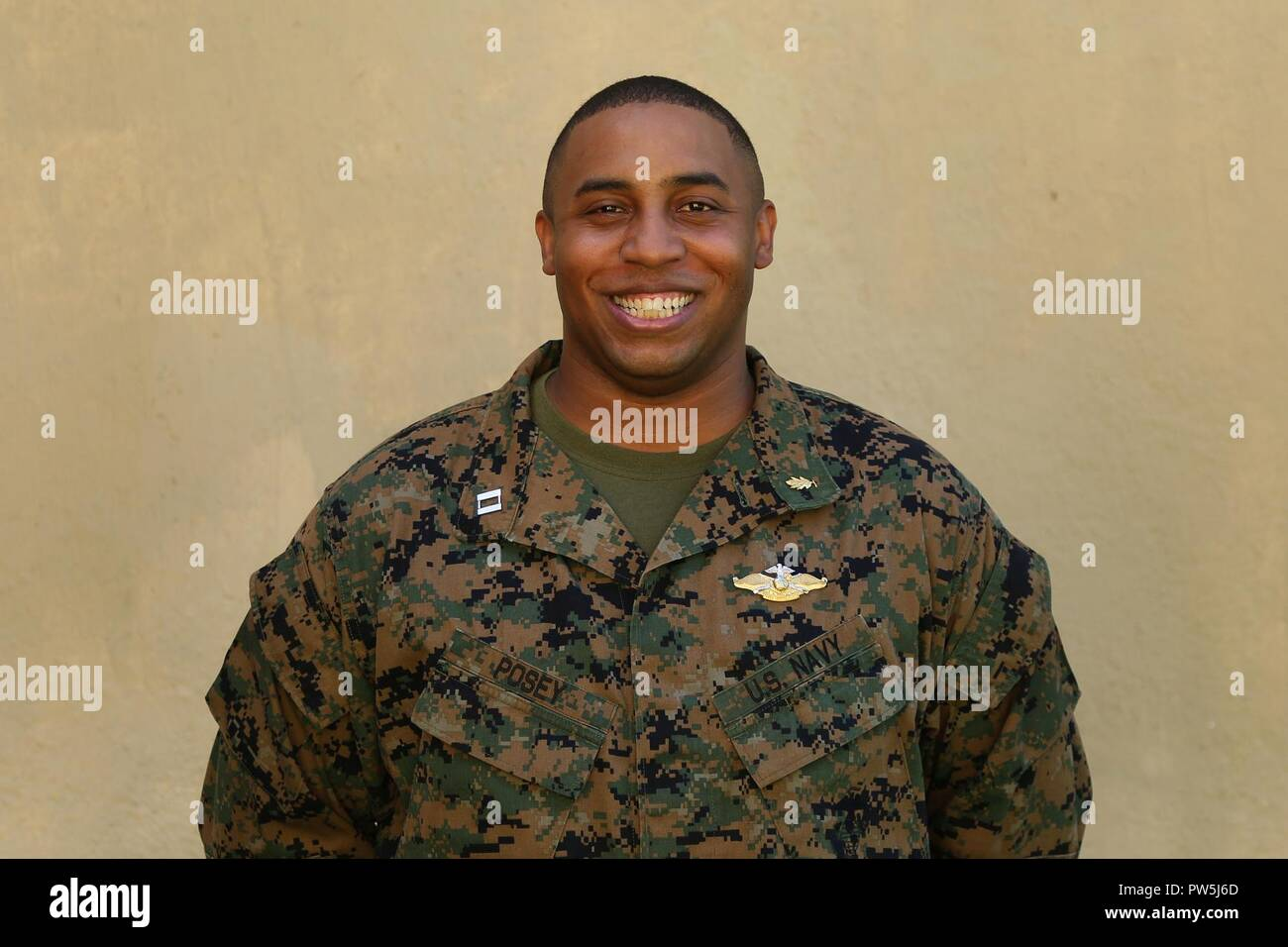 U.S. Navy LT Raymond Posey, an Atlanta, Georgia native, is the operations officer of the Sri Lanka Health Engagement 17 team, held from Sept. 9-23, 2017 at Naval Base Welisara, Sri Lanka. Posey enlisted into the U.S. Navy in 1998. As an enlisted Sailor, he obtained his bachelor's degree from Hawaii Pacific University and his master's degree from Cleveland State University and was commissioned in 2009. He is currently the Health Service Support Officer for 3d Marine Logistics Group, III Marine Expeditionary Force in Okinawa, Japan. - Stock Image
