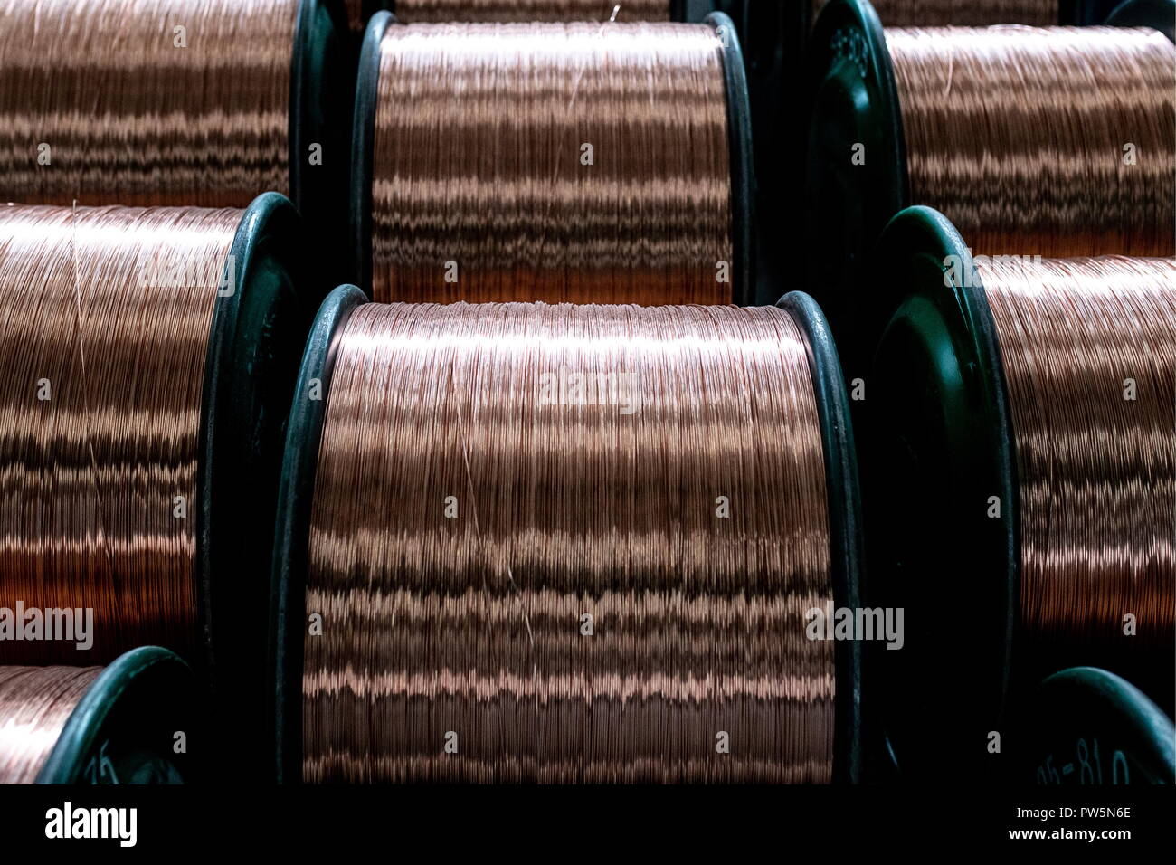ERDENET, MONGOLIA - OCTOBER 11, 2018: Copper wire at an ore processing complex operated by Erdenet Mining Corporation (EMC), a major manufacturer of copper concentrate and molybdenum concentrate. Sergei Bobylev/TASS - Stock Image