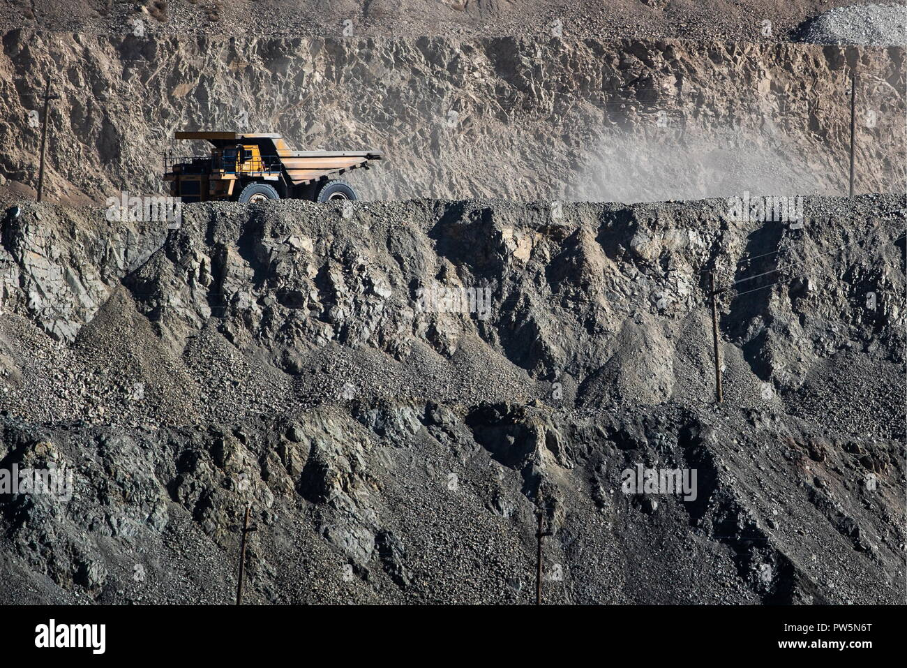 ERDENET, MONGOLIA - OCTOBER 11, 2018: A mining truck in a copper and molybdenum mine on the Erdenetiyn-ovoo deposit, operated by Erdenet Mining Corporation (EMC), a major manufacturer of copper concentrate and molybdenum concentrate. Sergei Bobylev/TASS - Stock Image