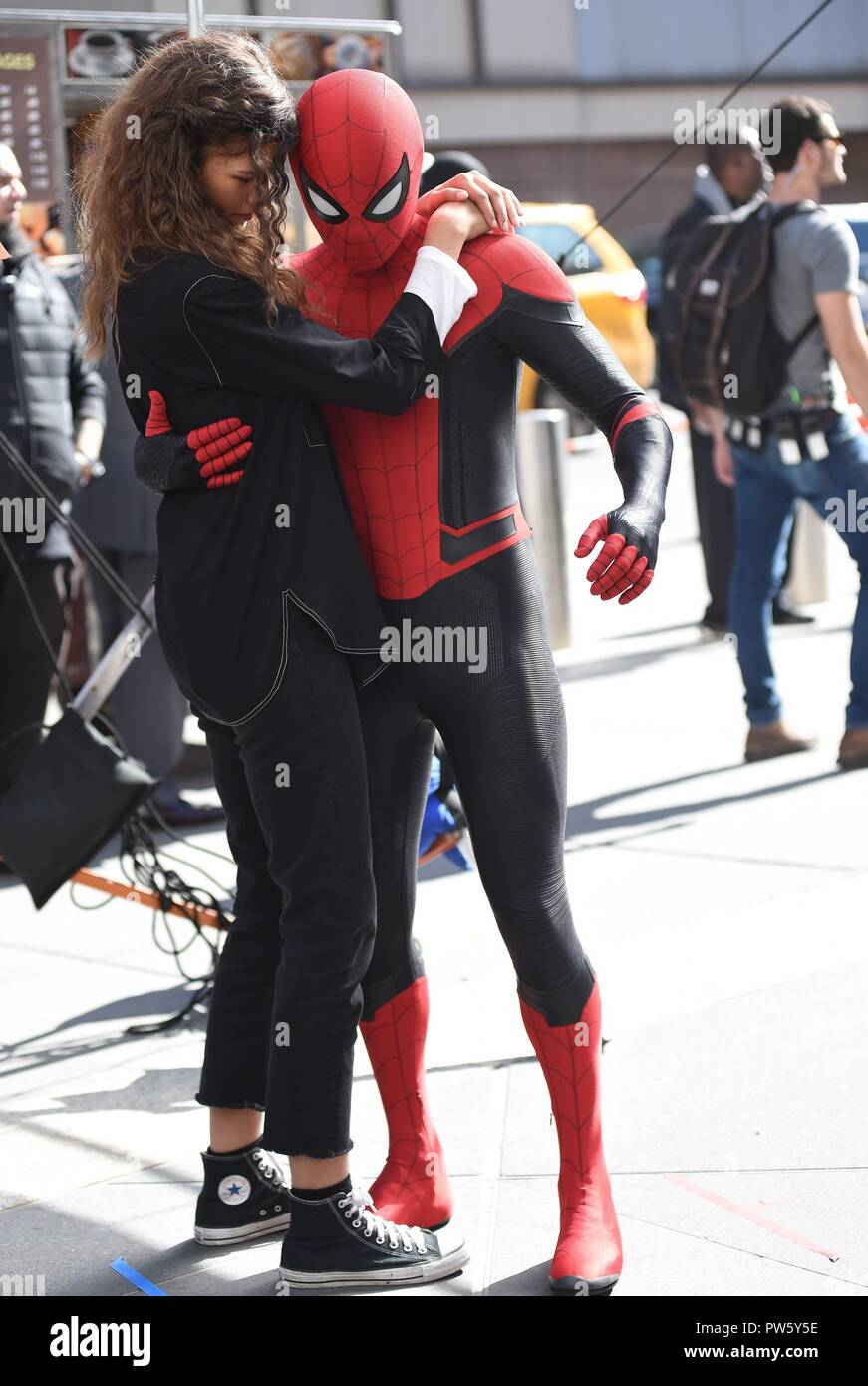 New York, NY, USA. 12th Oct, 2018. Zendaya, Tom Holland on location for SPIDER-MAN: FAR FROM HOME Film Shoot, New York, NY October 12, 2018. Credit: Kristin Callahan/Everett Collection/Alamy Live News Stock Photo