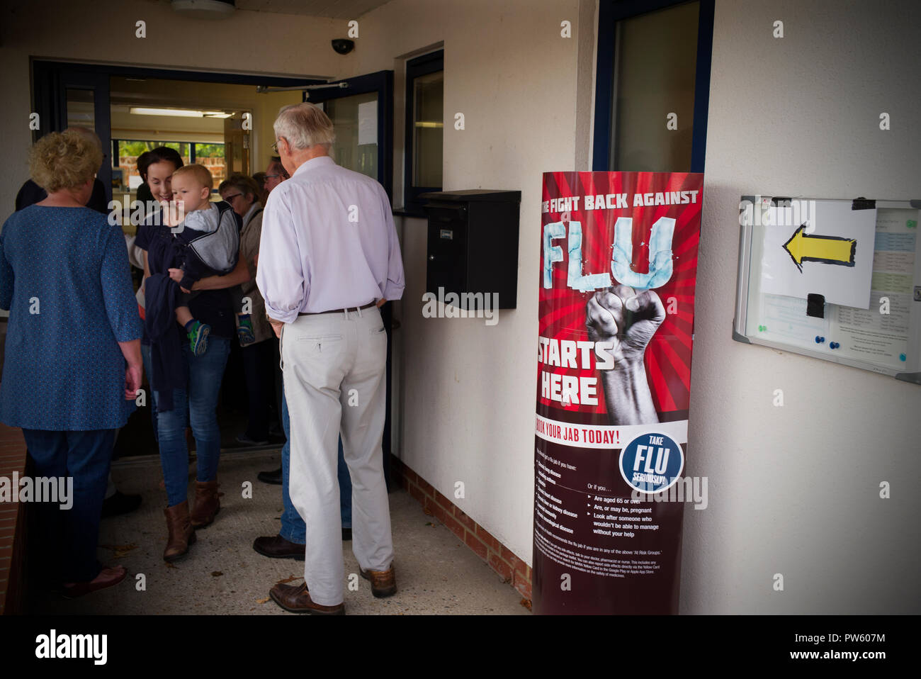 Flueathon Thaxted Essex England UK 13 Oct 2018 Residents of the small town of Thaxted in north west Essex attended the annual Fluathon organised by Thaxted Surgery when more than 600 residents had their annual 'Flu jab' top protect them through the winter months. - Stock Image
