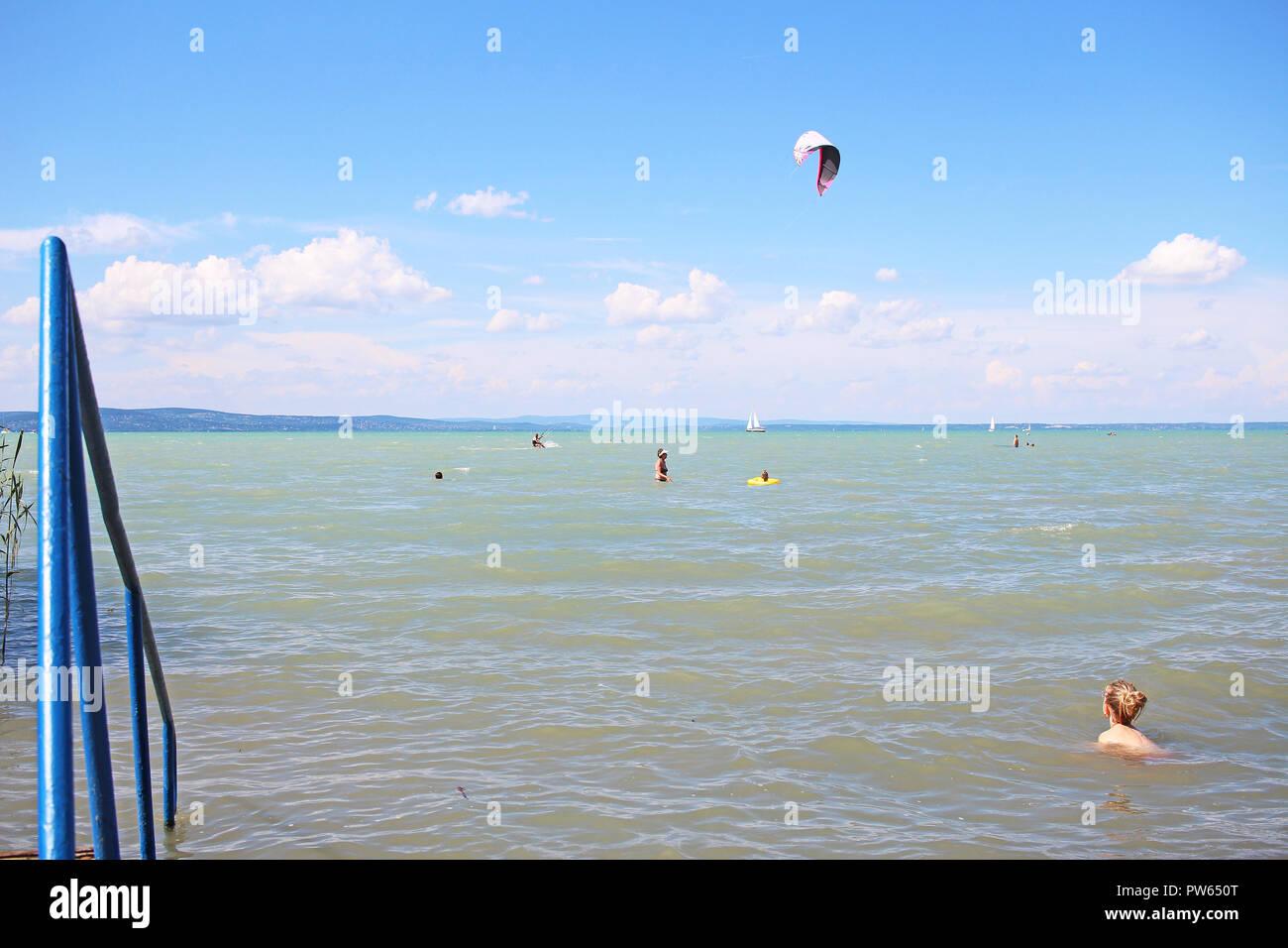 Balaton lake Hungary summer 2018 Europe. Sunny hot day near water. - Stock Image