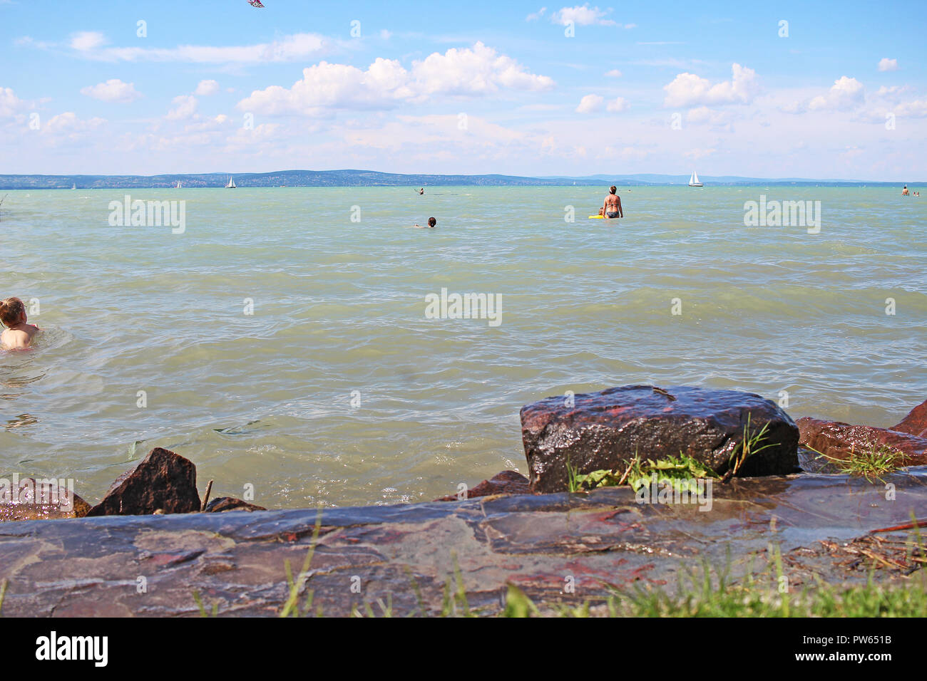Balaton lake Hungary summer 2018 Europe. Sunny hot day near water. Stock Photo