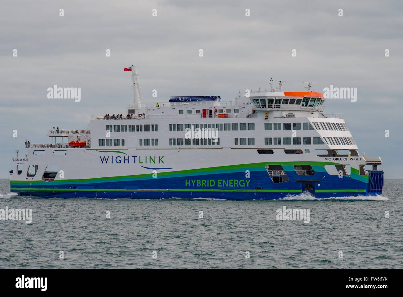 The new Wightlink car ferry 'Victoria of Wight' crossing The Solent en route from Portsmouth to the Isle of Wight on the 8th October 2018. Stock Photo