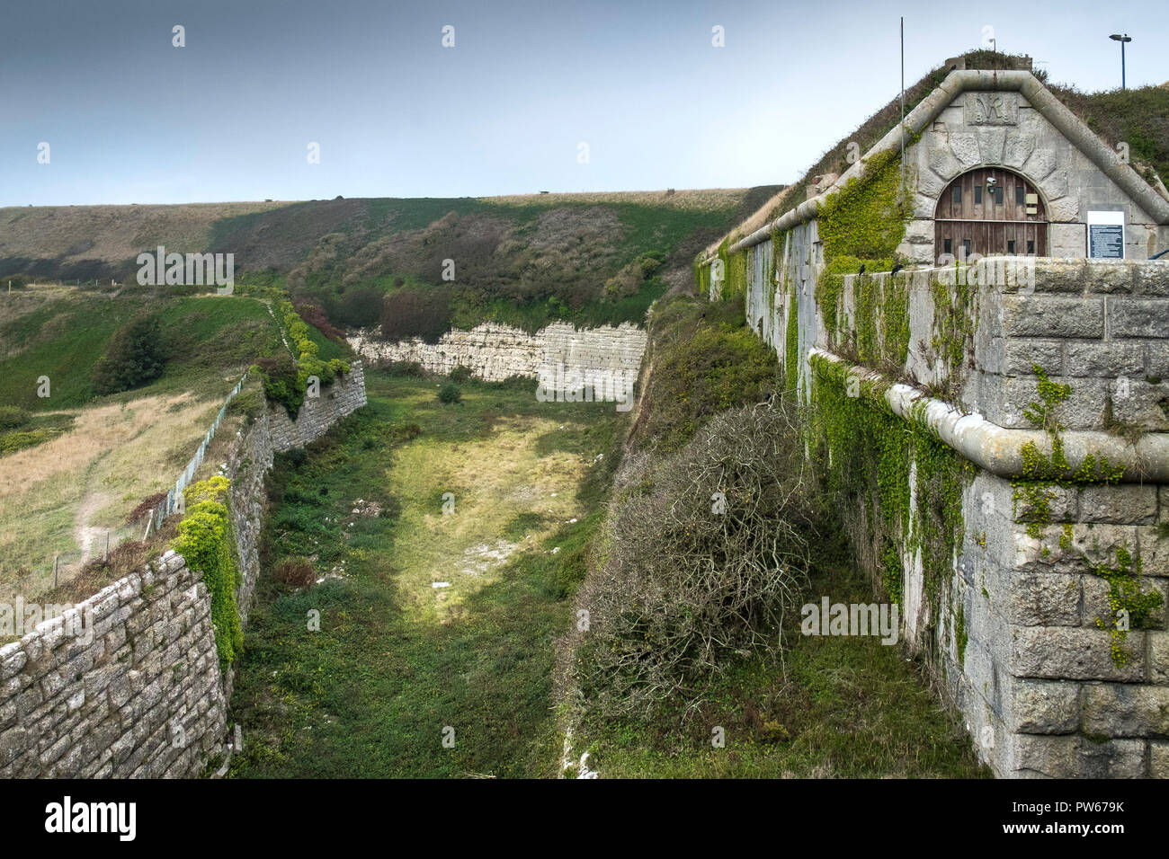 The South West Ditch Moat near the South Entrance to HM Prison Verne on the Isle of Portland in Dorset, UK. - Stock Image