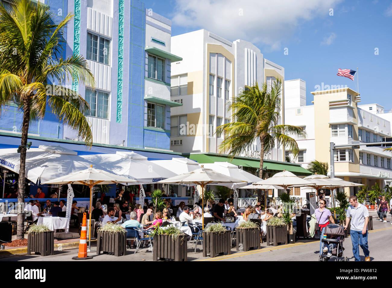 "Florida, FL, South, Miami Beach, SoBe, Art Deco District, ""Ocean Drive"", New Year's Day, Casablanca, hotel hotels lodging inn motel motels, street, si Stock Photo"