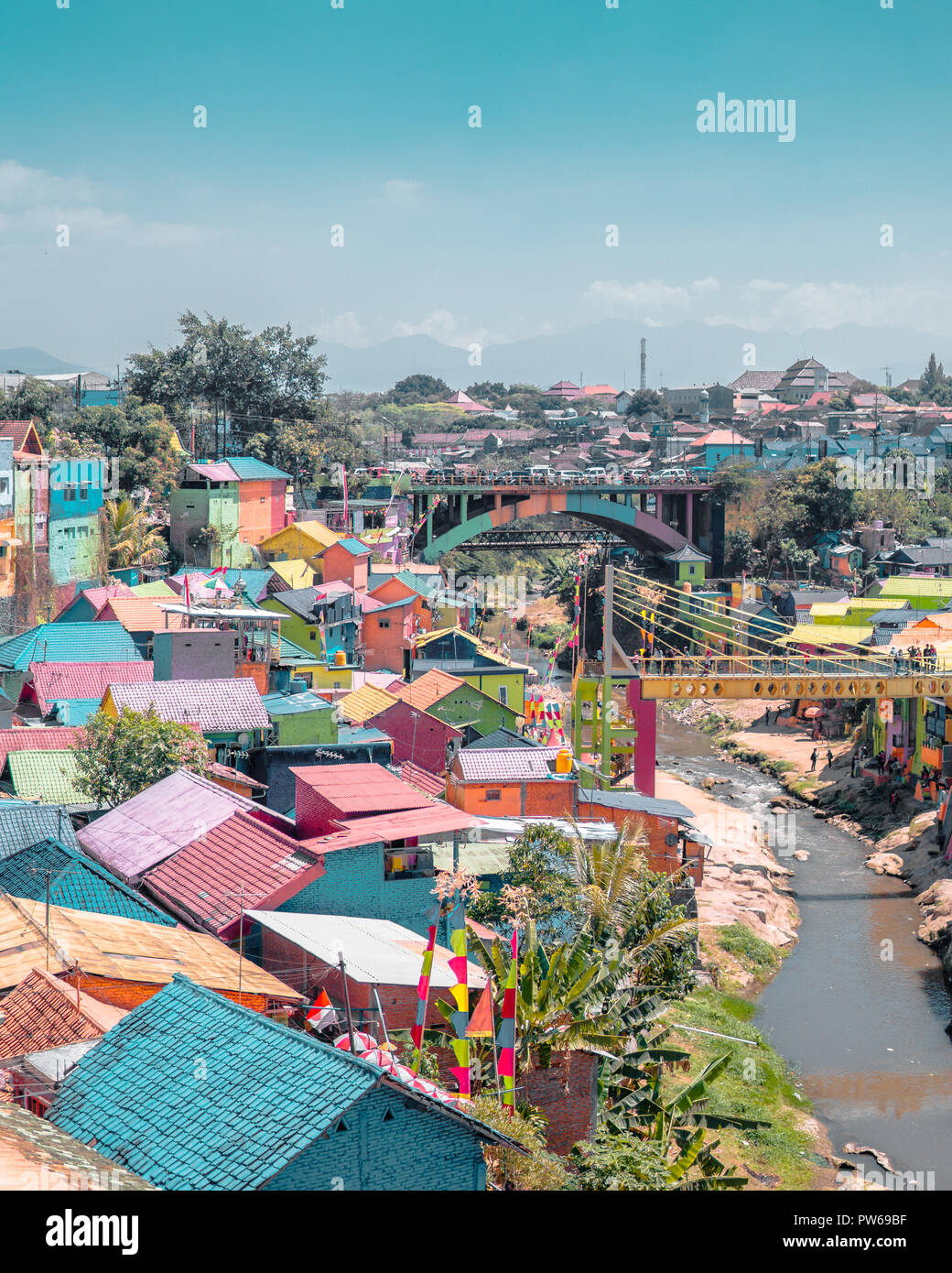 A View Of Colorful Village Of Jodipan This Village Located In The Middle Of Malang City East Java Indonesia Stock Photo Alamy
