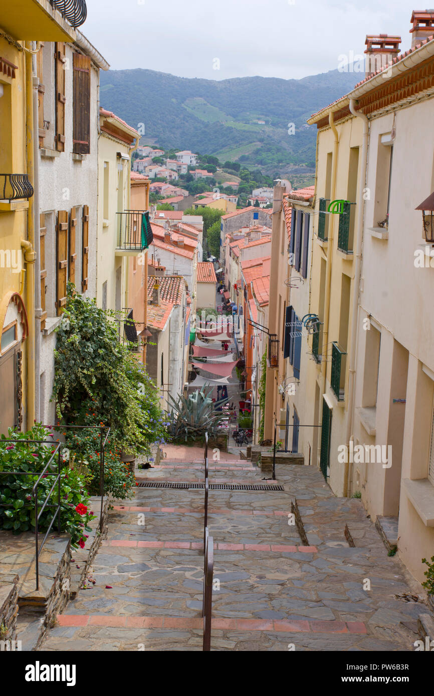 Old Houses Banyuls Sur Mer Stock Photo