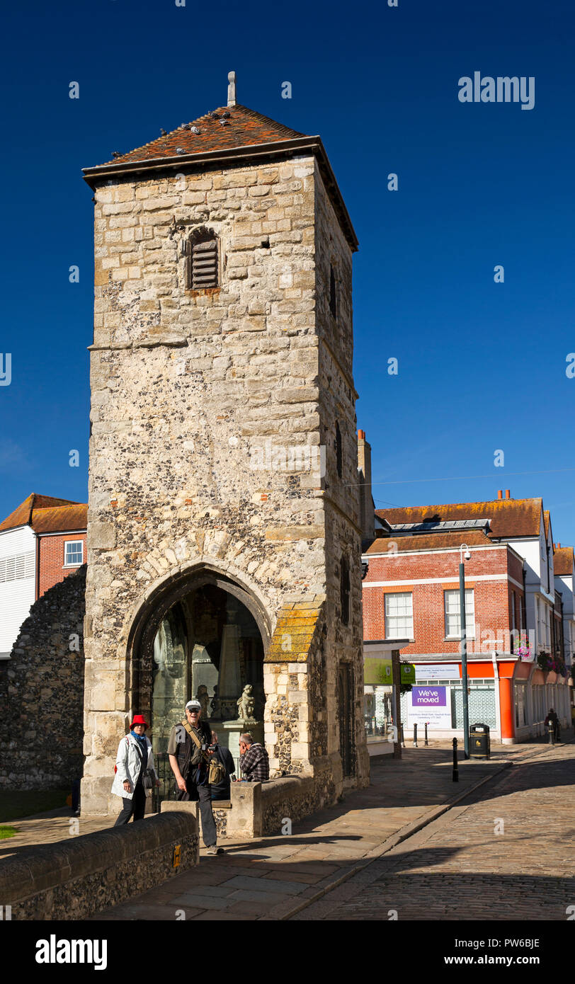 UK, Kent, Canterbury, Burgate, medieval tower of former St Mary Magdelene church in grounds of St Thomas' Catholic church - Stock Image