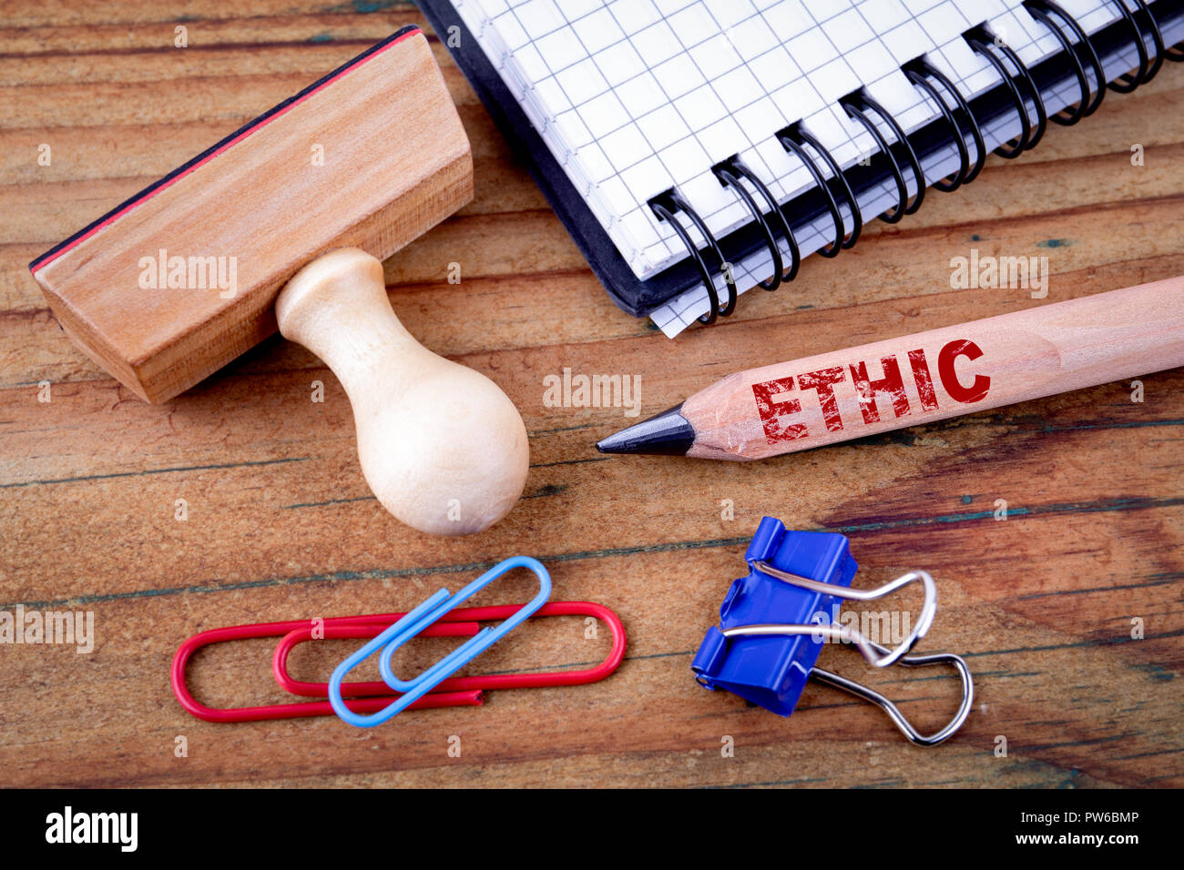 Ethic text on pencil - Stock Image