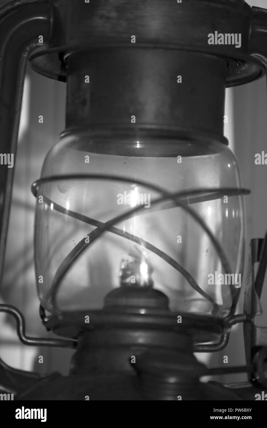 Kerosene or hurricane lamp, black and white - Stock Image