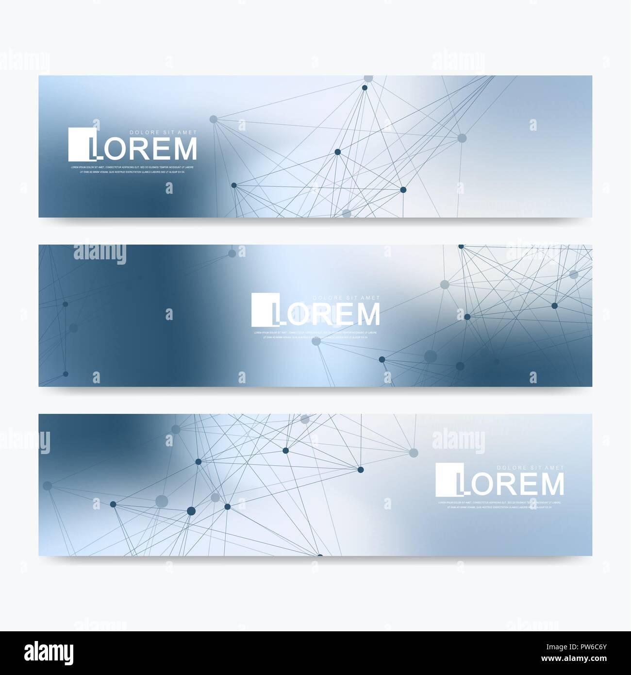 abstract vector set of modern website banners scientific