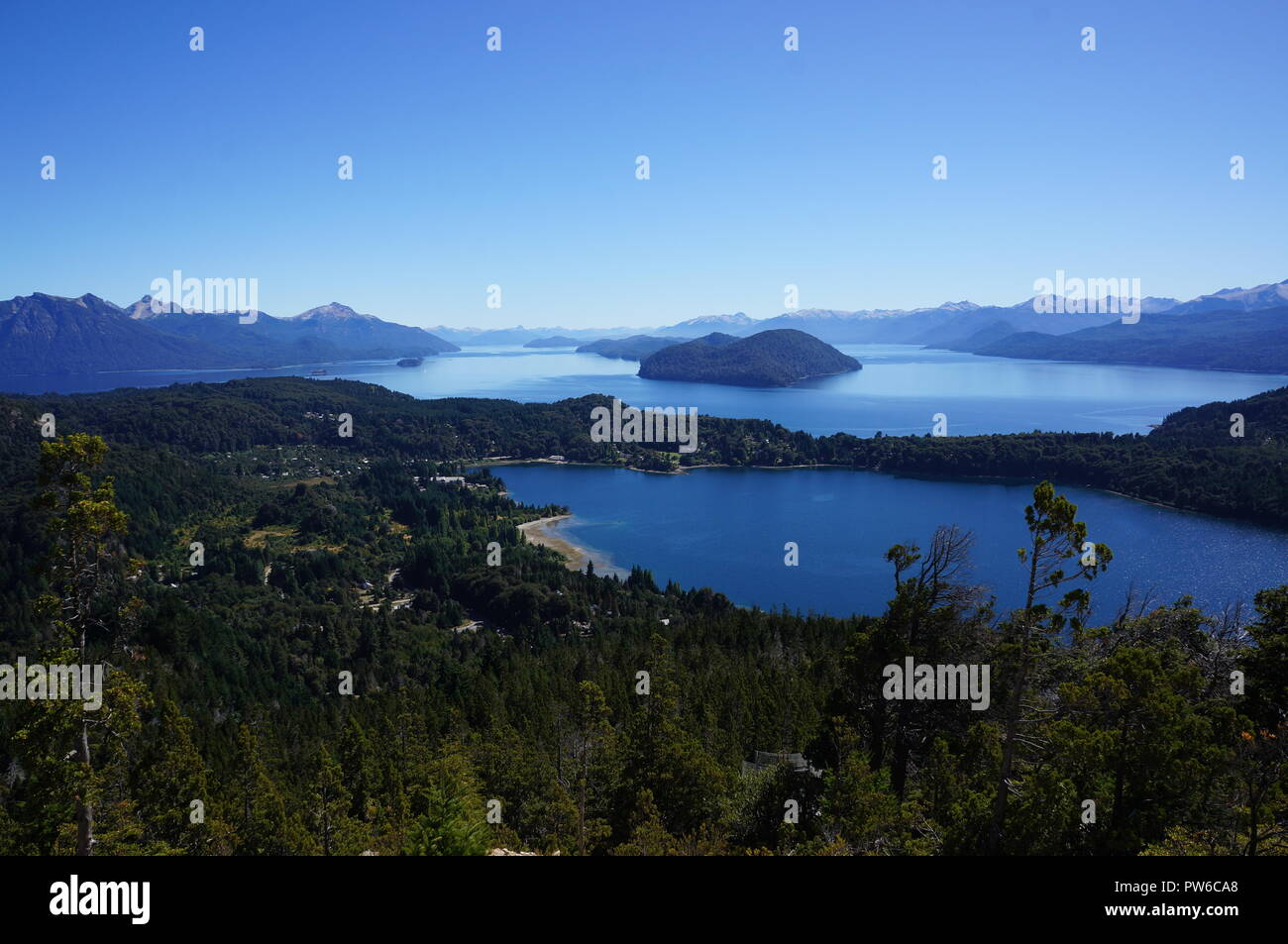 Beautiful views from atop Cerro Campanario with sights of Nahuel Huapi Lake and surrounding lush green islands.  San Carlos de Bariloche, Argentina. - Stock Image