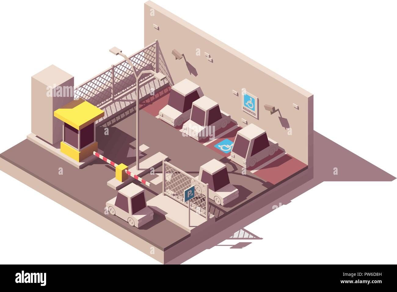 Vector isometric secure car parking - Stock Vector
