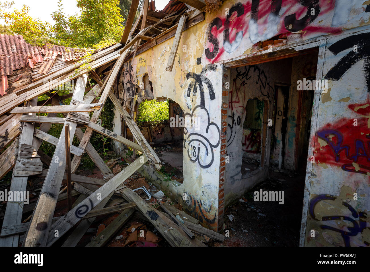 Photographic reportage of the abandoned city of Consonno (Lecco, Italy) Stock Photo