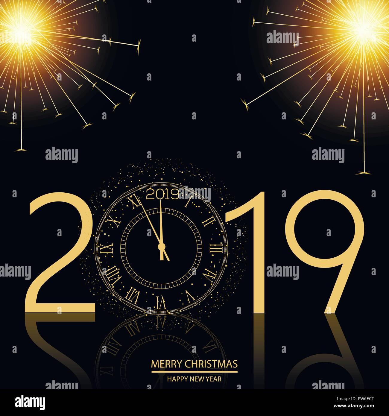 christmas and happy new year background with clock vector