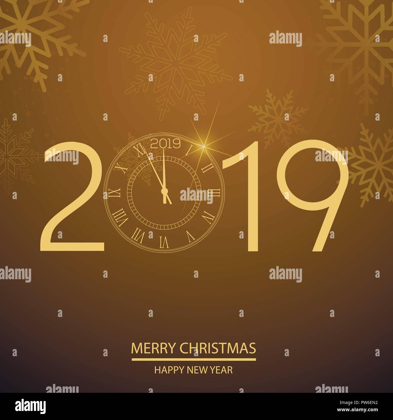 happy new year greeting card with gold clock vector