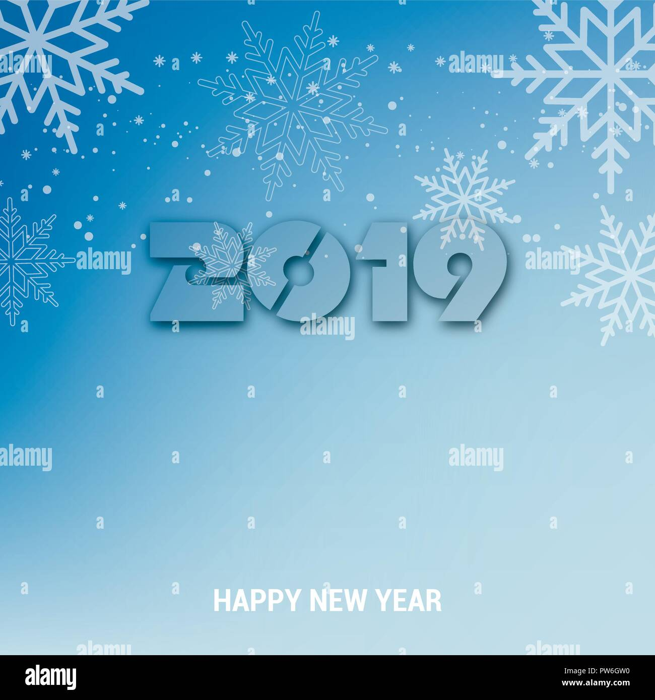 happy new year background with falling snow flakes vector