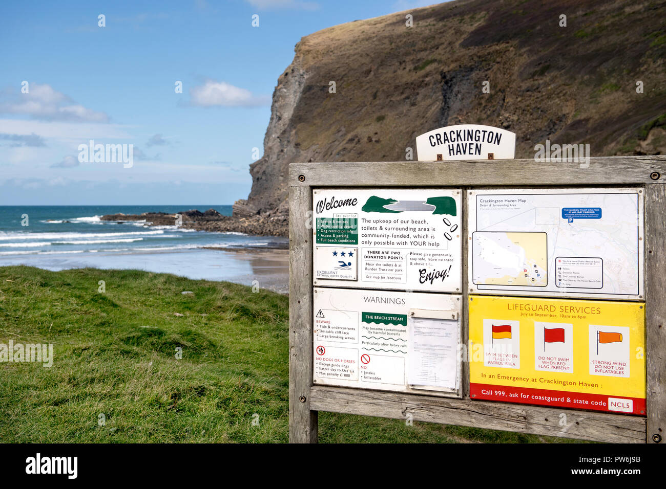 Information board at  Crackington Haven beach in Cornwall, England, UK - Stock Image