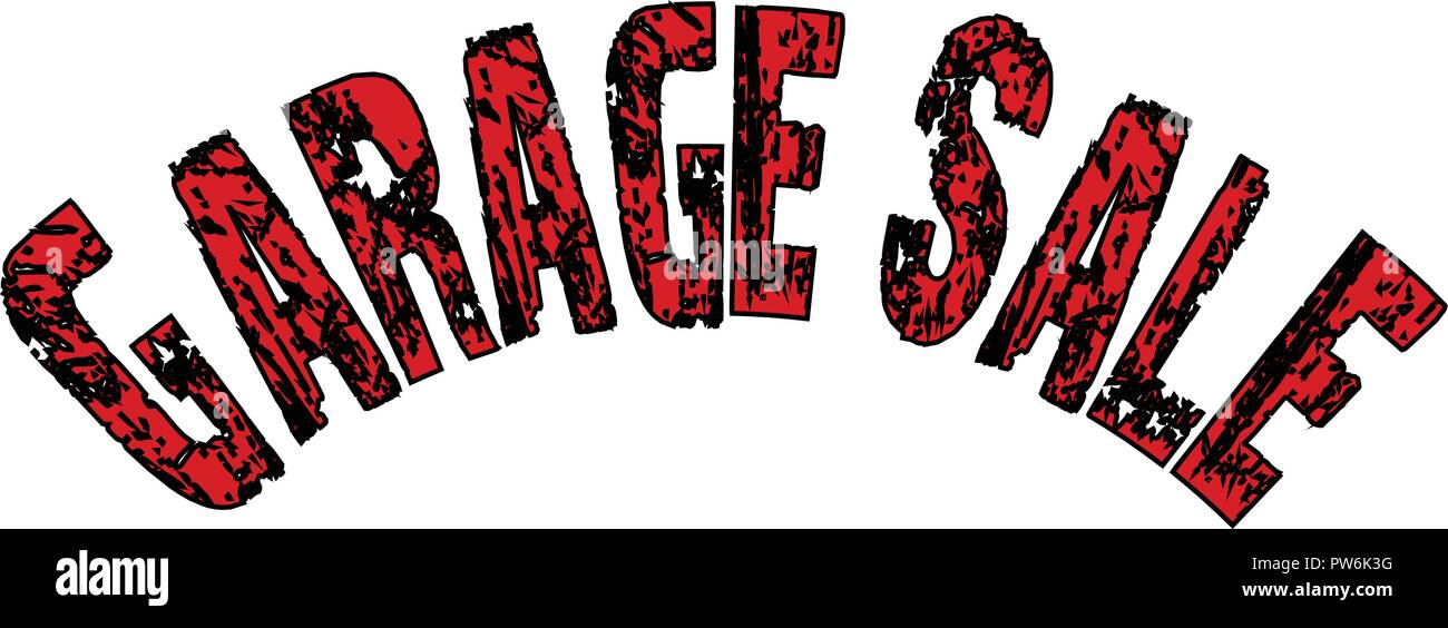 Garage sale text sign illustration on whiite background - Stock Image