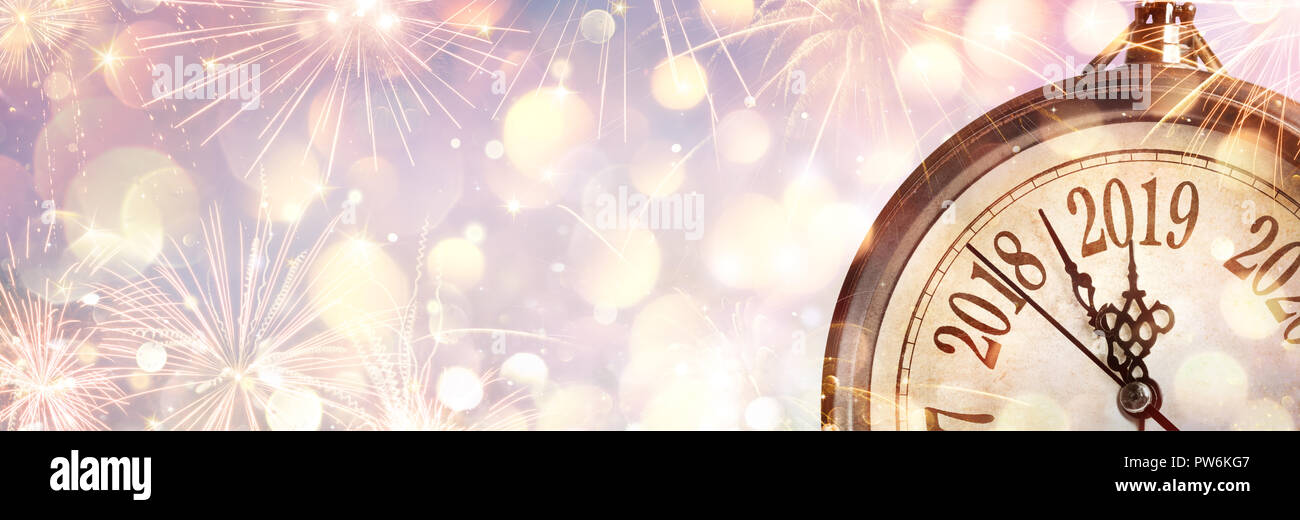 New Year 2019 - Midnight With Clock And Fireworks Stock Photo