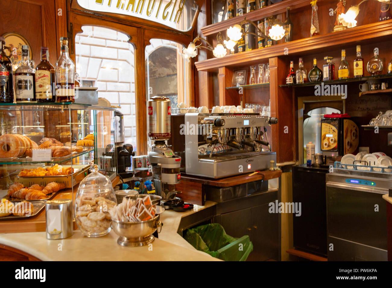 Interior Of A Traditional Italian Cafe In Montepulciano Tuscany Italy Stock Photo Alamy