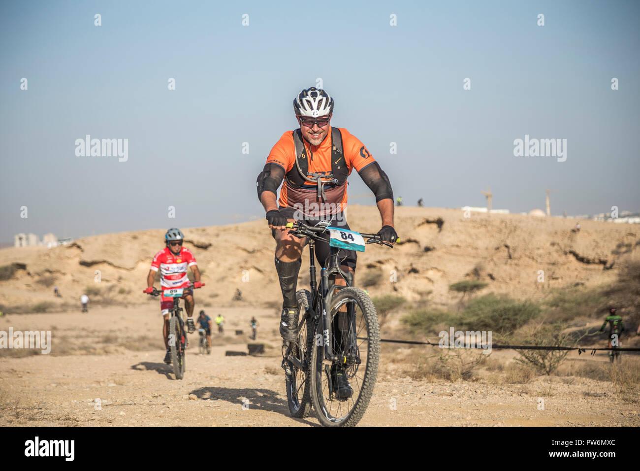 Mountain Bike  Race, Cross country, The start. Muscat, Oman - Stock Image