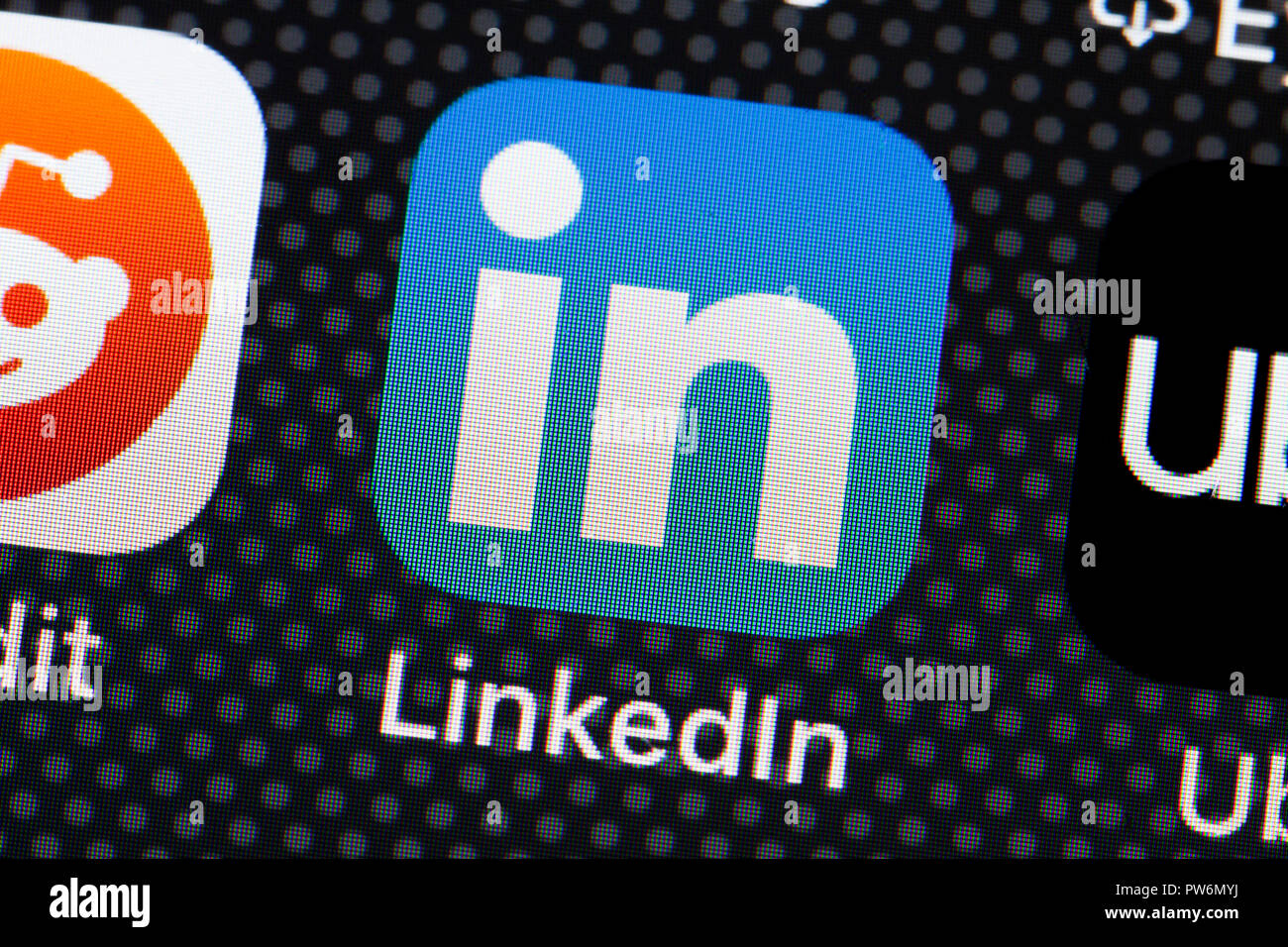 LinkedIn (Linked In) app icon on iPhone (close up, macro) - USA - Stock Image