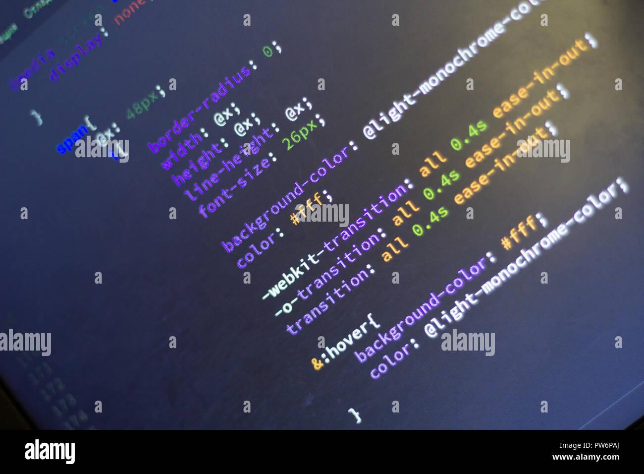 Web development code: CSS/LESS styles preprocessor script