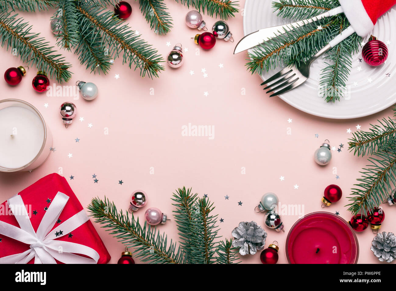 Christmas Festive Frame With Christmas Decorations In Red Pink And Green Colors Celebration Table Setting Stock Photo Alamy