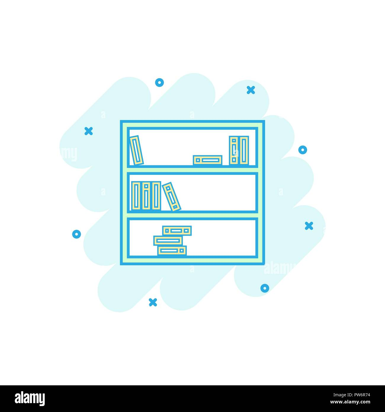 Vector Cartoon Bookcase Furniture Icon In Comic Style Sign Illustration Pictogram Bookshelf Business Splash Effect Concept