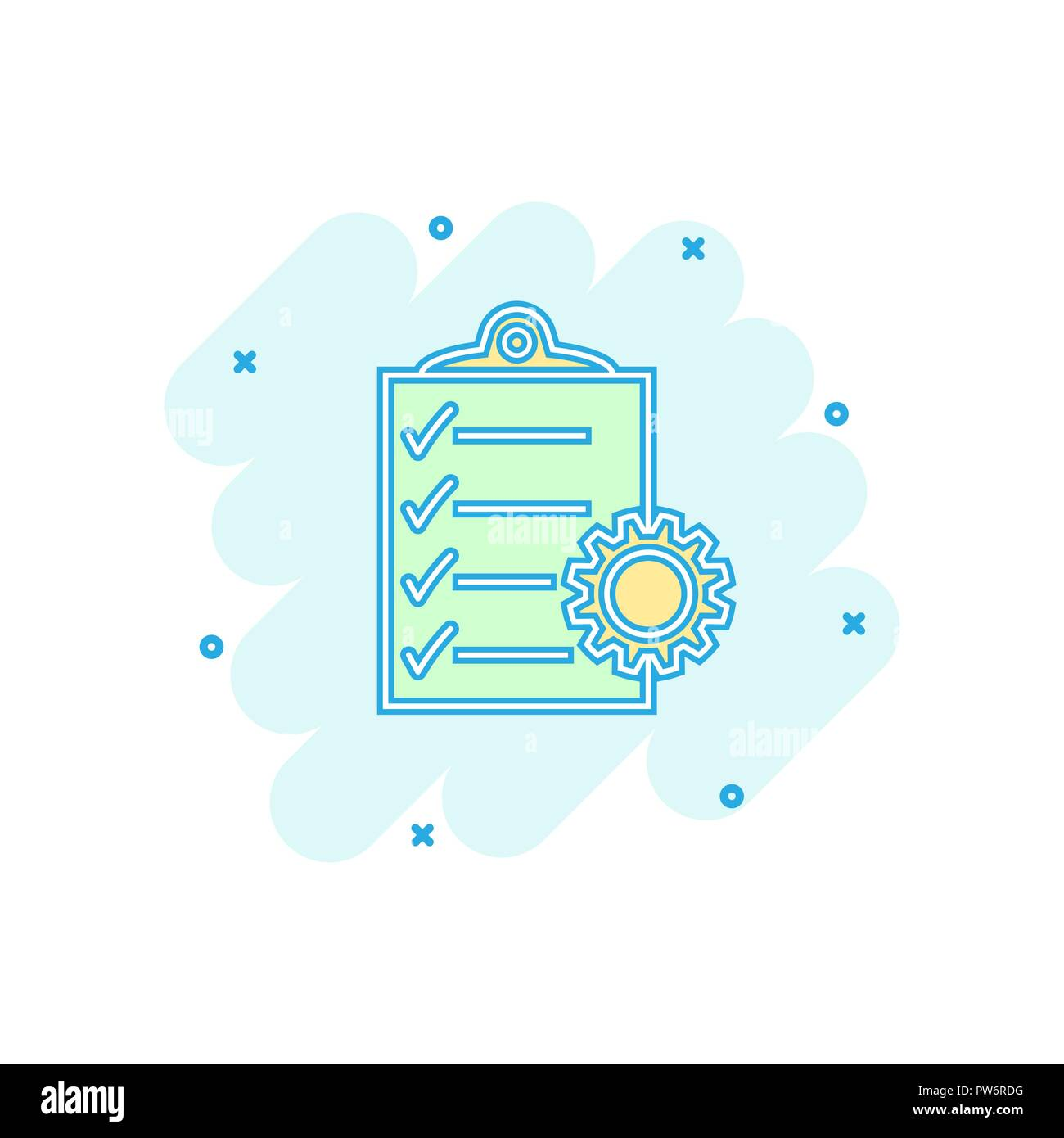 vector cartoon document icon in comic style project management sign