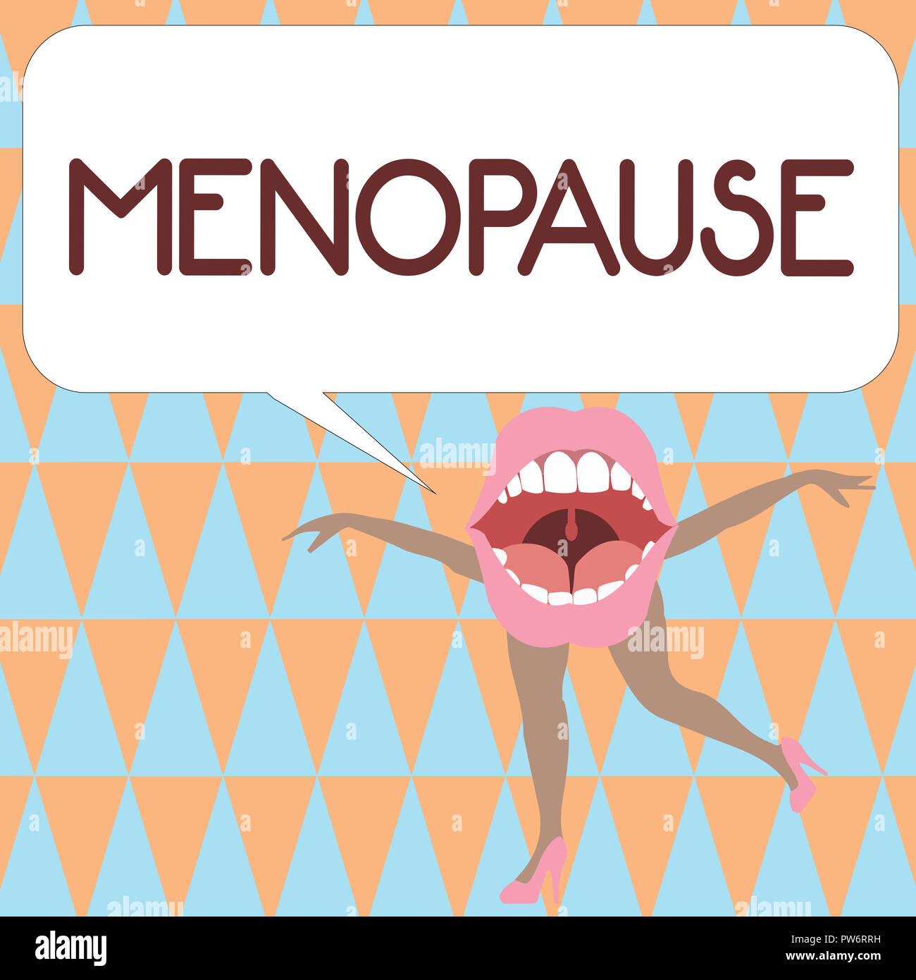 Text sign showing Menopause. Conceptual photo Cessation of menstruation Older women hormonal changes period. - Stock Image