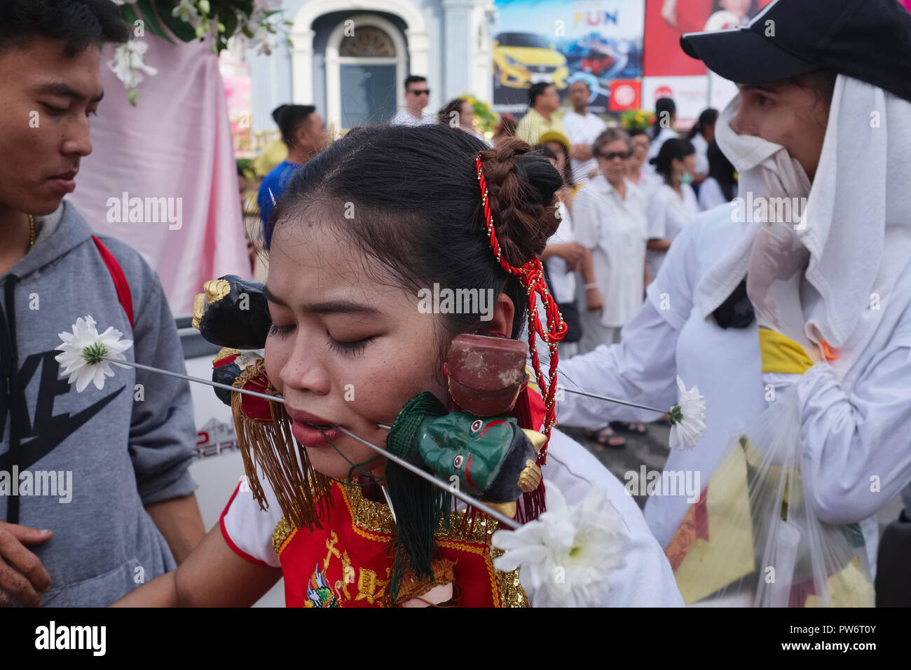 A spirit medium in a procession during the Vegetarian Festival in