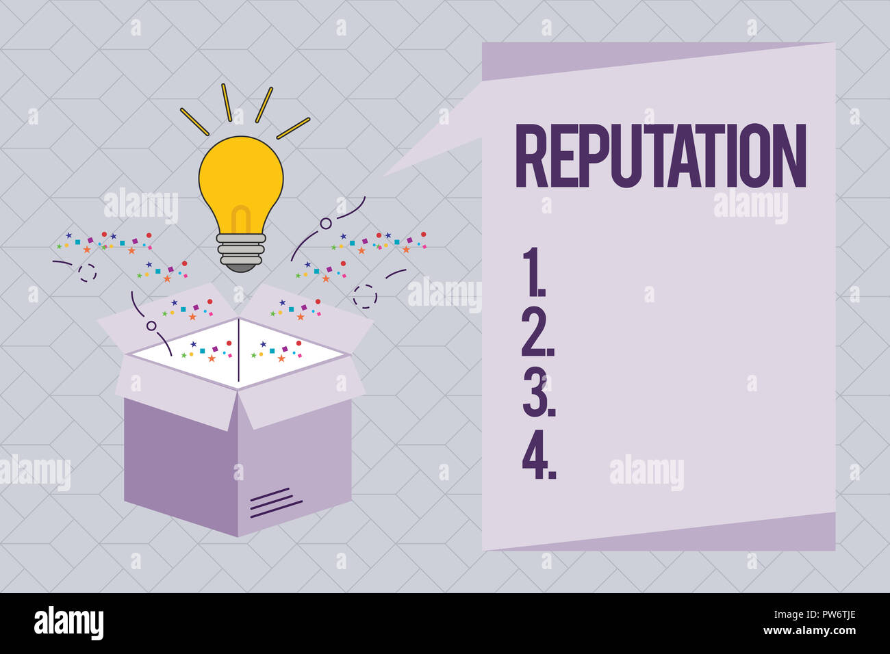 Text sign showing Reputation. Conceptual photo Beliefs Opinions that are generally held about someone something. - Stock Image