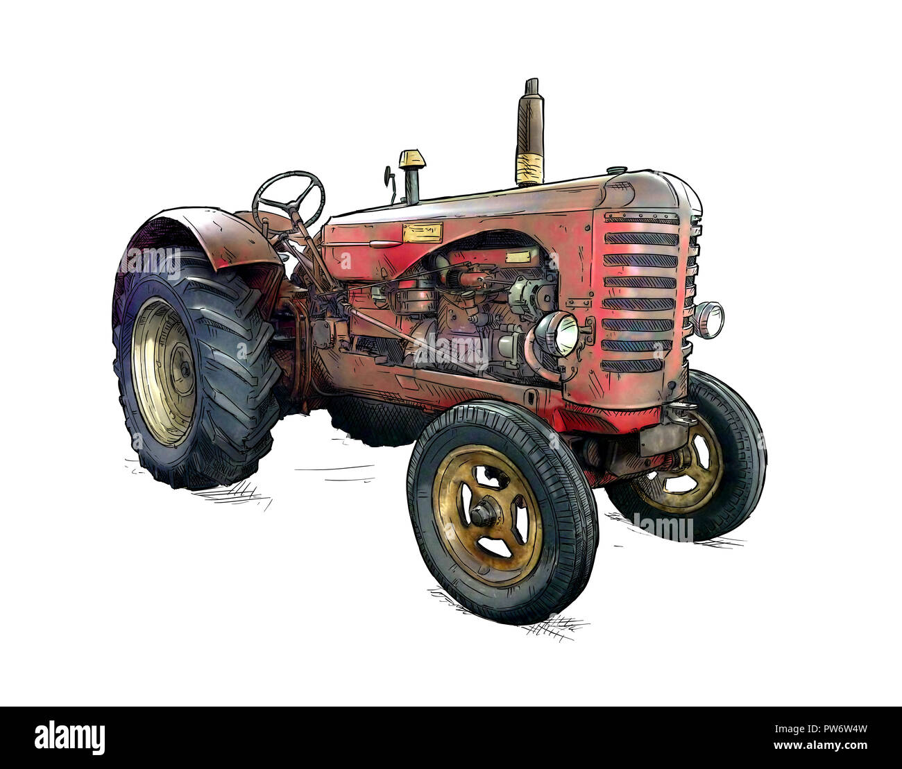 Cartoon or Comic Style Illustration of Old Red Tractor - Stock Image