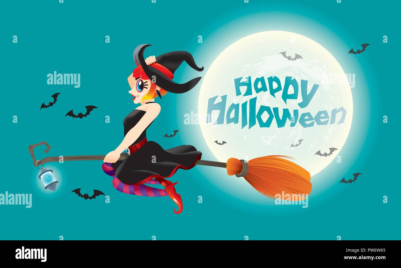 A cute witch flying with her magic broom. With full moon night scene. - Stock Vector