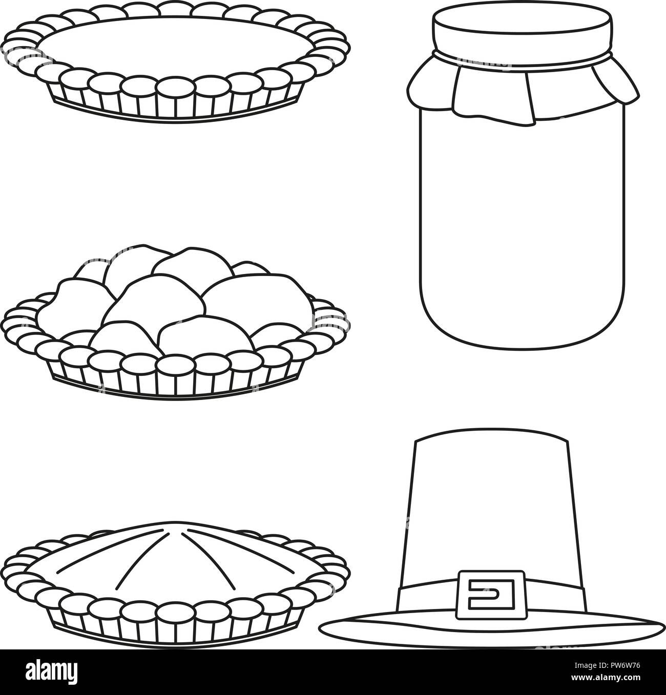 4 line art black and white fall harvest elements - Stock Vector
