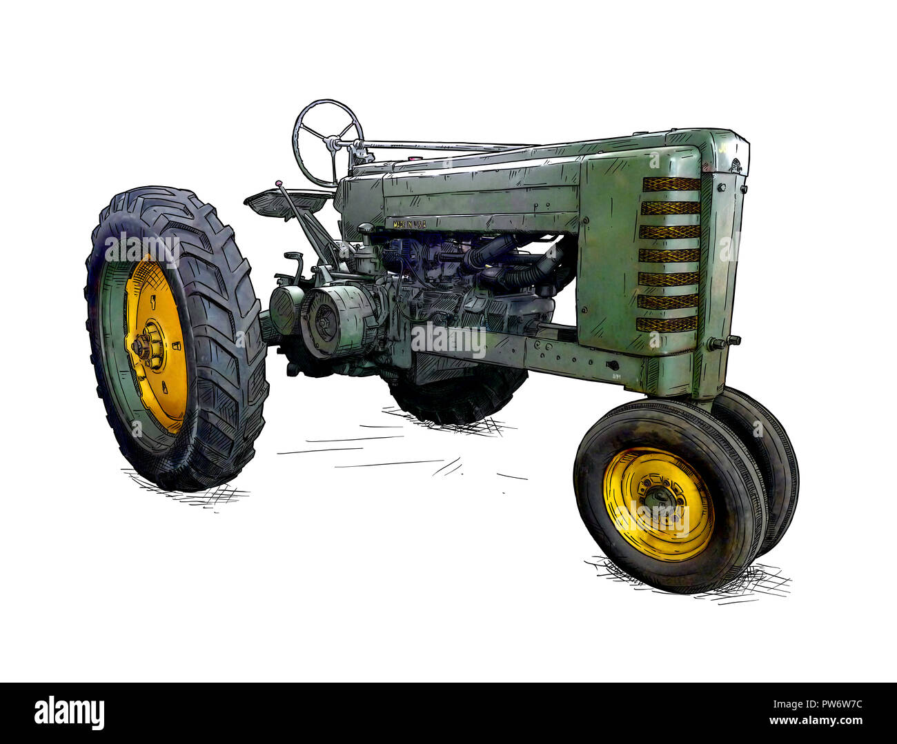 Cartoon or Comic Style Illustration of Old Green Tractor - Stock Image