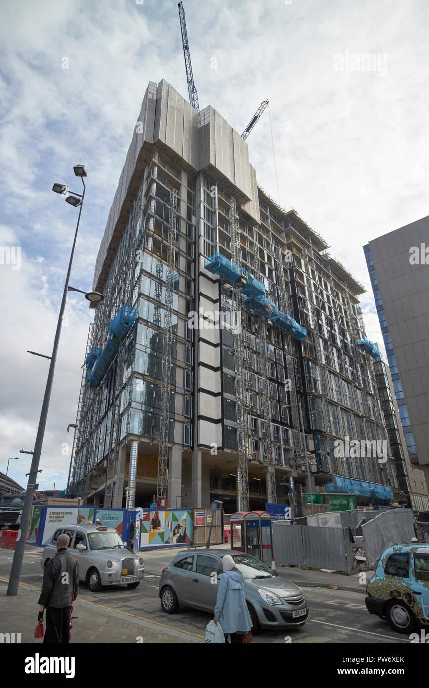 New unite students university accommodation blocks being built Liverpool Merseyside England UK - Stock Image