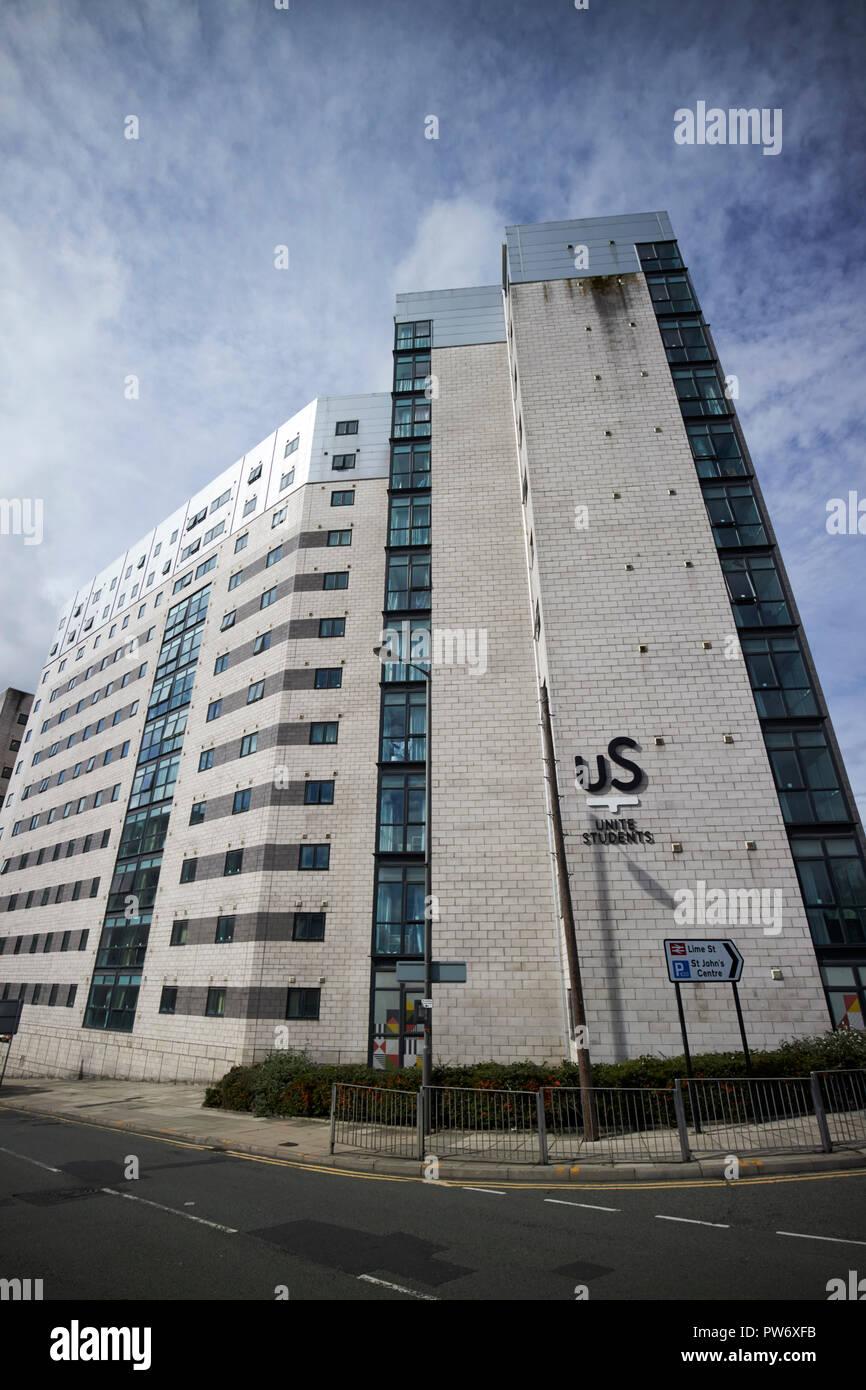 unite students grand central university accommodation blocks Liverpool Merseyside England UK - Stock Image