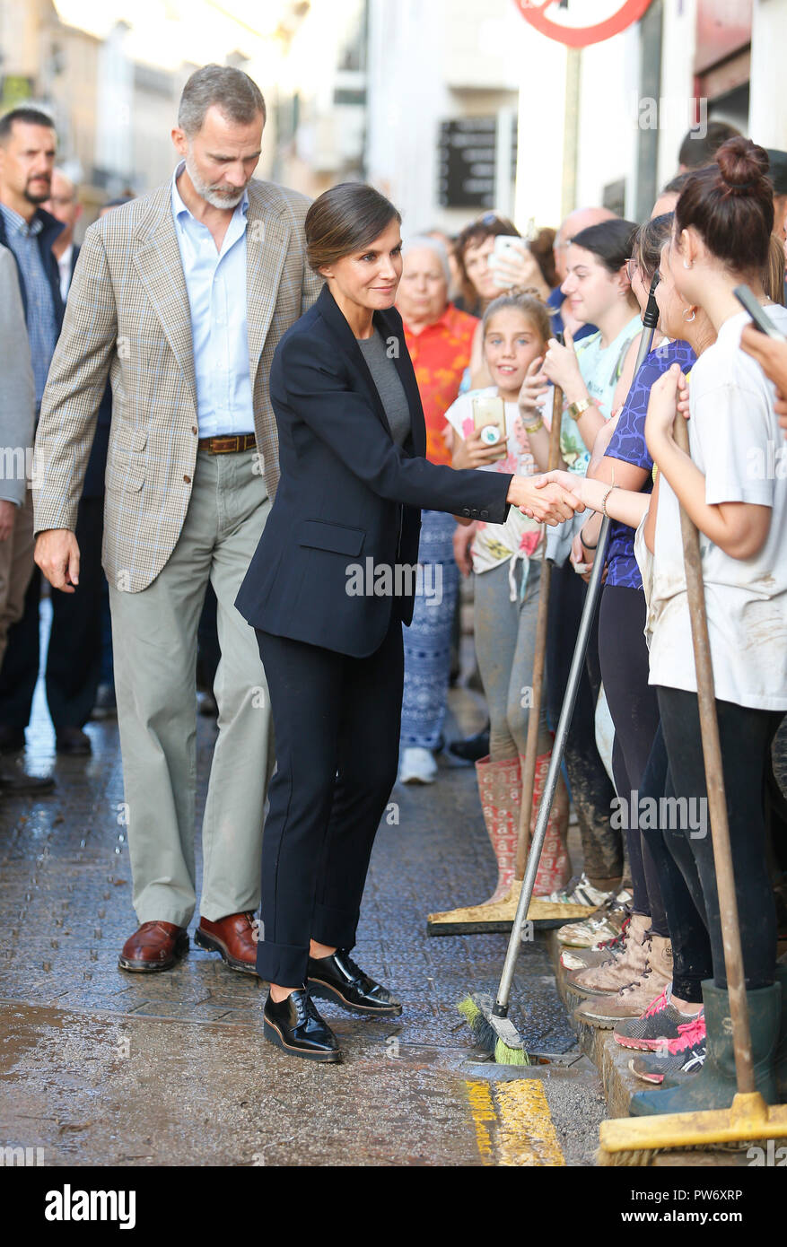 Spain Kings Felipe and Queen Letizia visit the village of San Llorenc in the island of Mallorca after heavy flash flood - Stock Image