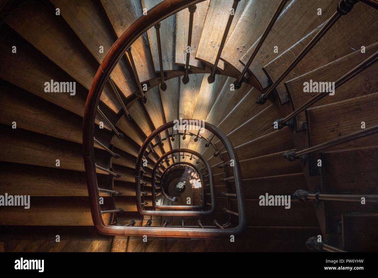 Wooden Spiral Staircase, Paris, France - Stock Image