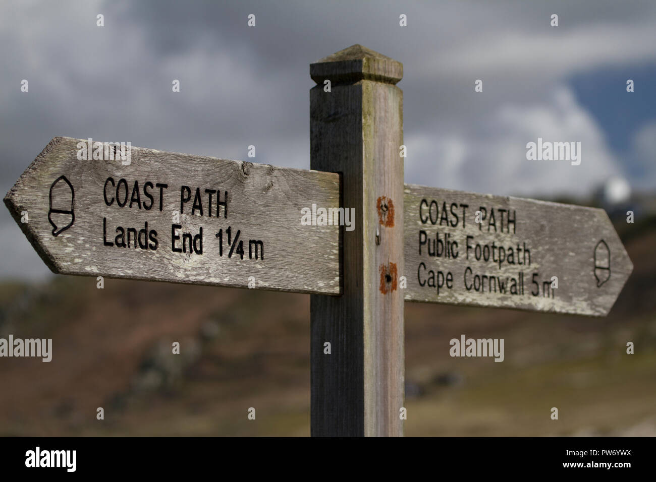 Direction sign on Coastal Path in Cornwall - Stock Image