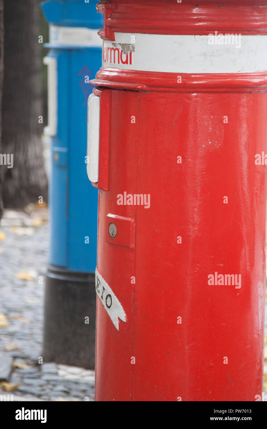 Local and international post boxes, Lisbon, Portugal - Stock Image