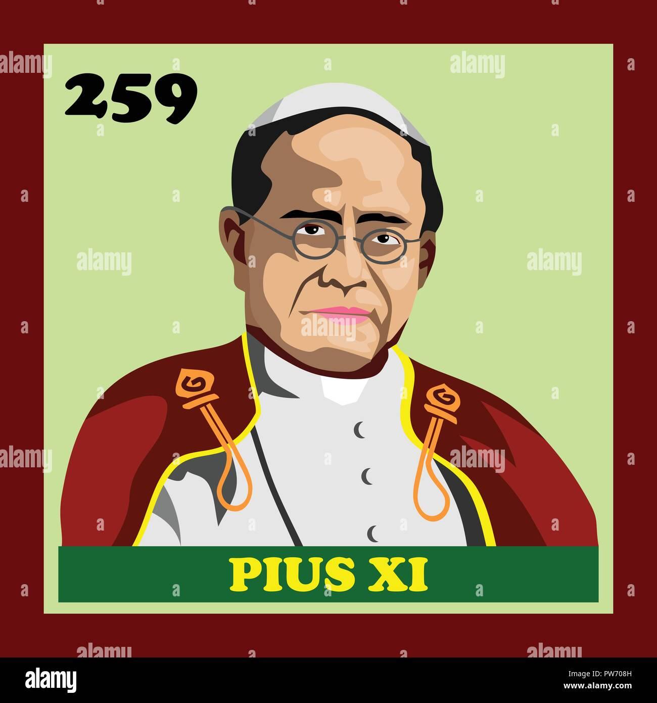 Pope Pius XI Rome Catholic Church - Stock Vector