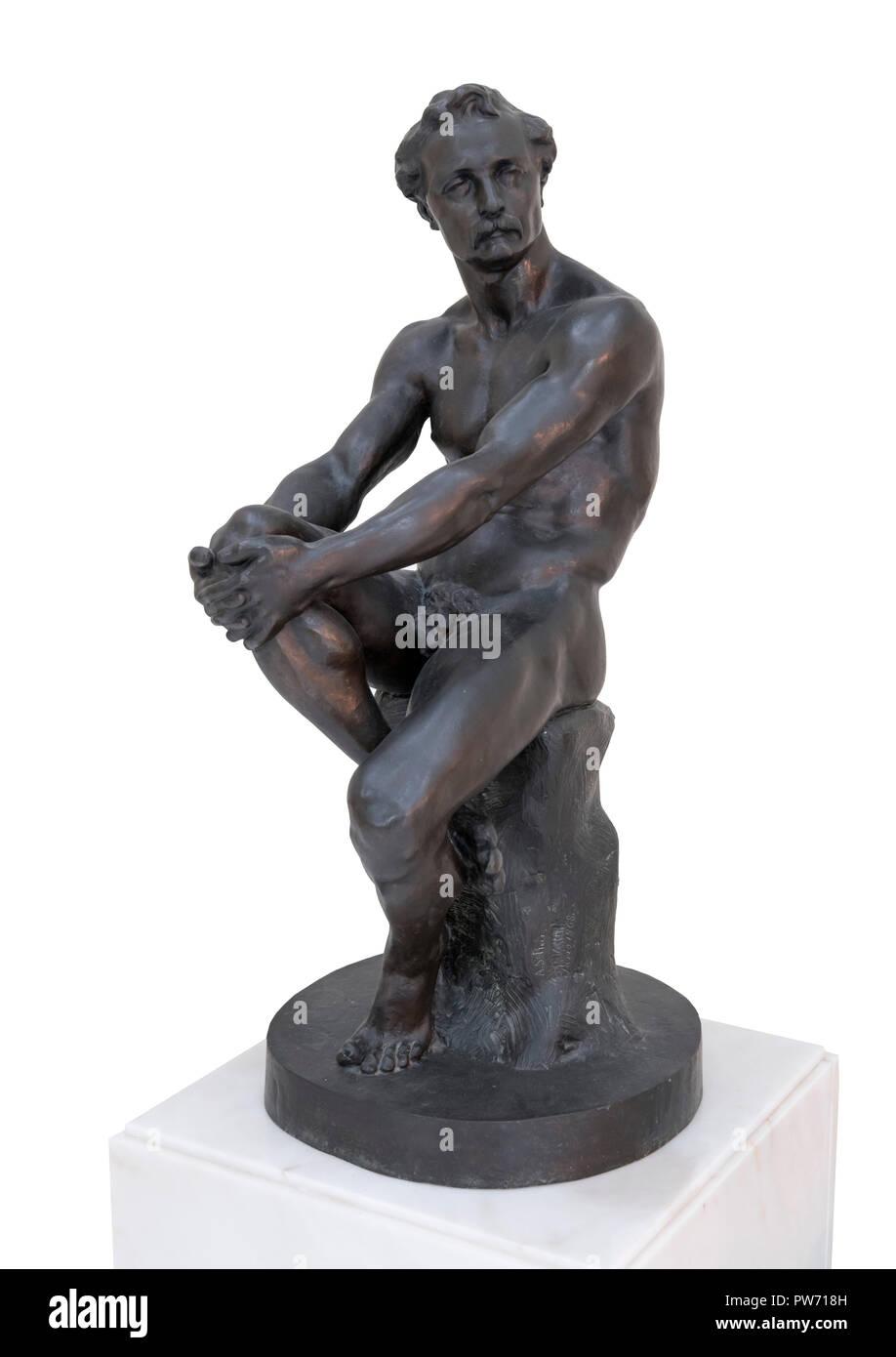 Study of a Sitting Man (Academia - Homem Sentado) by the Portuguese sculptor António Soares dos Reis (1857-1889), bronze, 1868 - Stock Image
