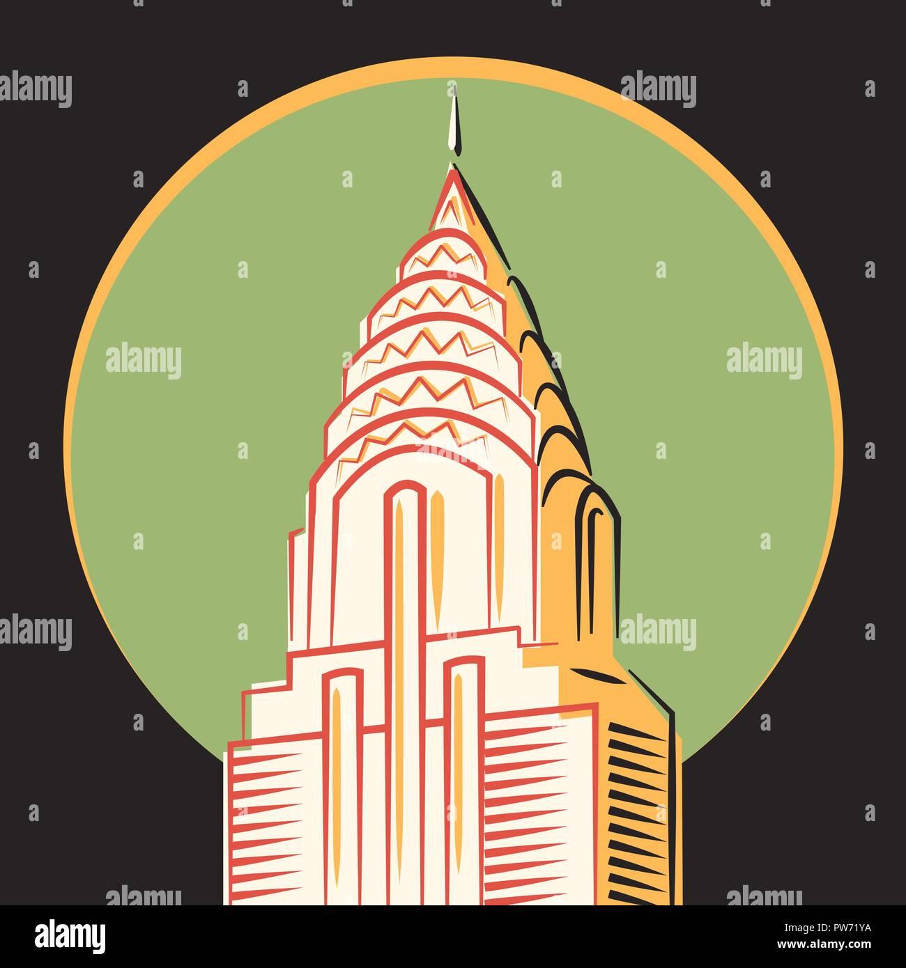 Minimalistic vector icon, The Chrysler Building, New York - Stock Vector